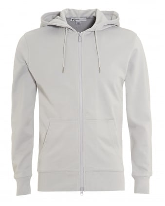 Mens Back Logo Hoodie, Full Zip Grey Sweatshirt