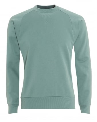 Mens Back Logo Sweatshirt, Crew Neck Green Vapour Steel Sweat
