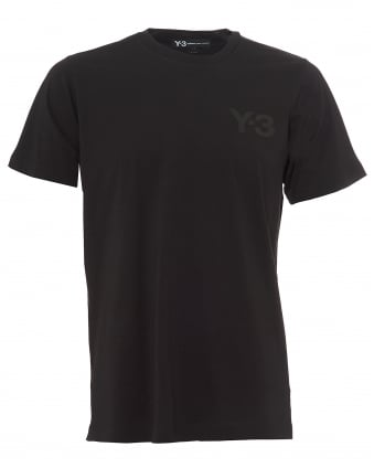 Mens Black Classic Logo T-Shirt, Black Short Sleeve Tee