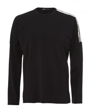Mens Black Long Sleeve T-Shirt, 3 Stripes Cutout Tee