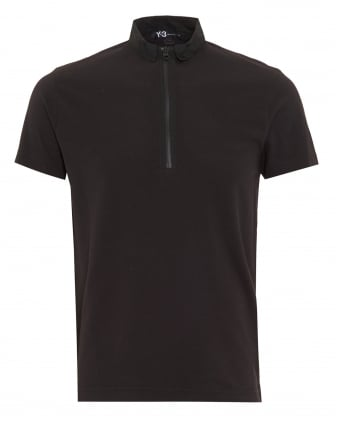 Mens Black Regular Fit Zip Polo Shirt