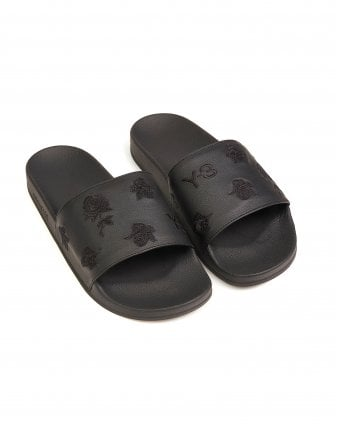 66b5755ca Mens Black Skulls and Roses Adilette Slides