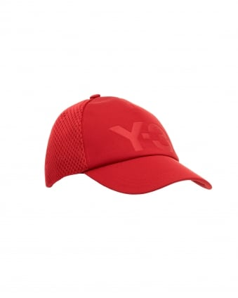 Mens Branded Trucker Cap, Side & Back Mesh Panels Red Cap