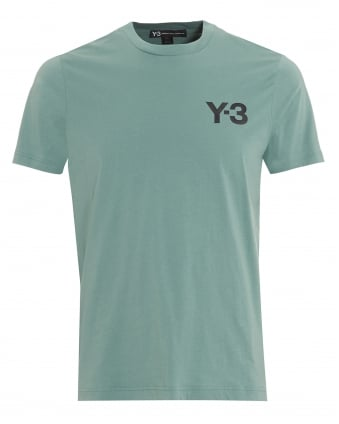 Mens Chest Logo T-Shirt, Plain Green Vapour Steel Tee