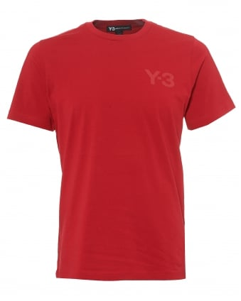 Mens Chilli Red Classic Logo T-Shirt, Red Short Sleeve Tee