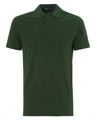 Mens Classic Logo Polo Shirt, Sleeve Logo Field Green Polo