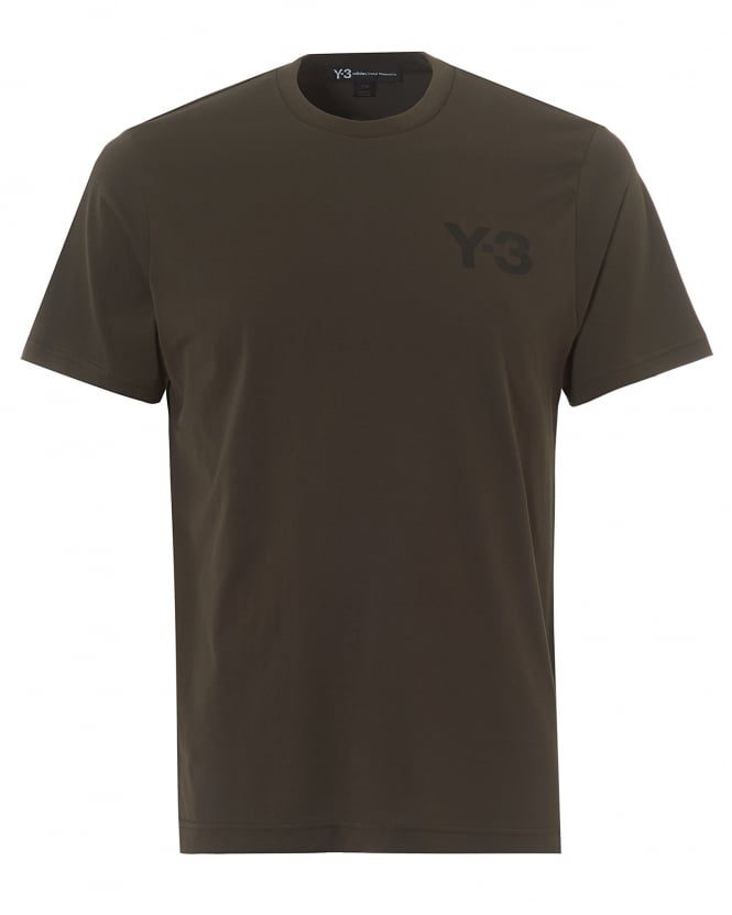 Y-3 Mens Classic Logo T-Shirt, Short Sleeved Black Olive Tee
