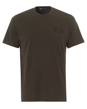Mens Classic Logo T-Shirt, Short Sleeved Black Olive Tee