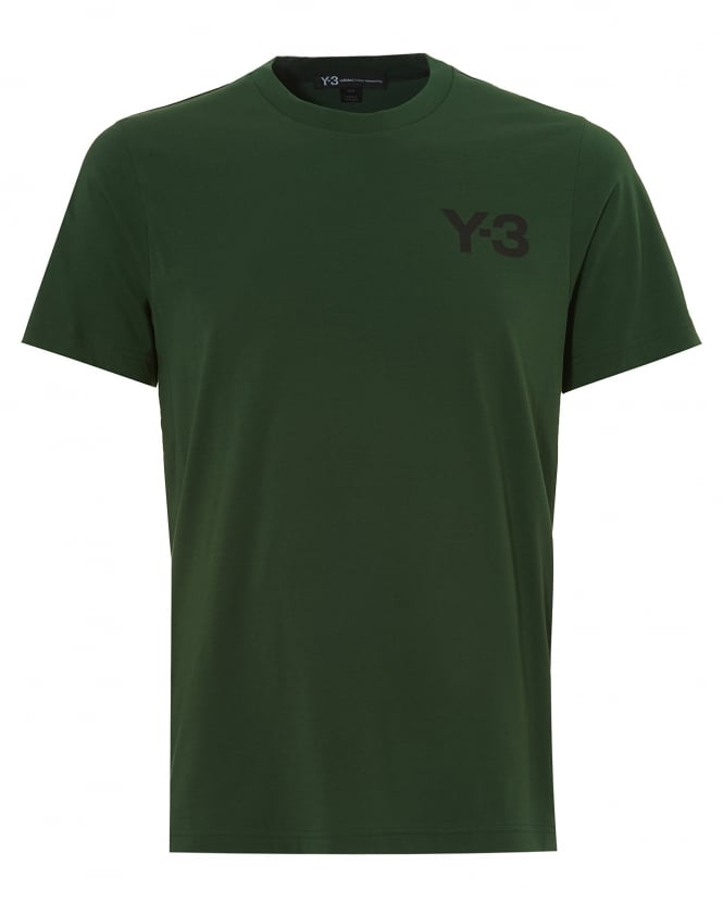 Y-3 Mens Classic Logo T-Shirt, Short Sleeved Field Green Tee