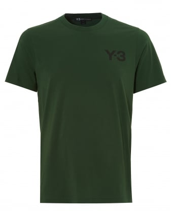 Mens Classic Logo T-Shirt, Short Sleeved Field Green Tee