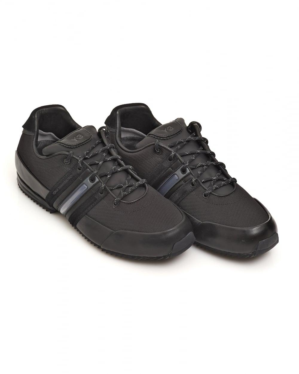626eeb35c5b643 Y-3 Mens Core All Black Sprint Mesh Leather Trainers
