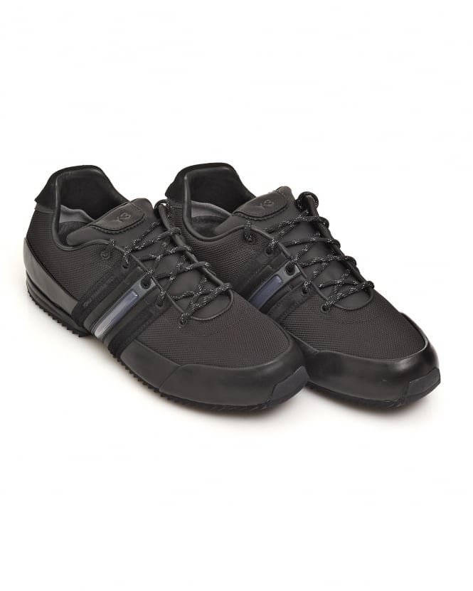 Y-3 Mens Core All Black Sprint Mesh Leather Trainers