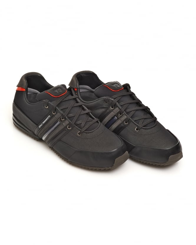 Y-3 Mens Core Black Chamel Grey Sprint Leather Trainers