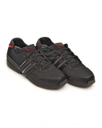 Mens Core Black Chamel Grey Sprint Leather Trainers