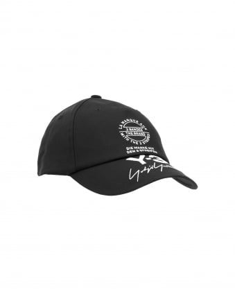 Mens Cotton Canvas Street Cap, Embroidered Logo Black Cap