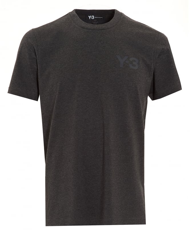 Y-3 Mens Crew Neck Classic Logo Charcoal Grey T-Shirt