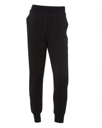 Mens Cuffed Logo Trackpants, Black Cotton Sweatpants