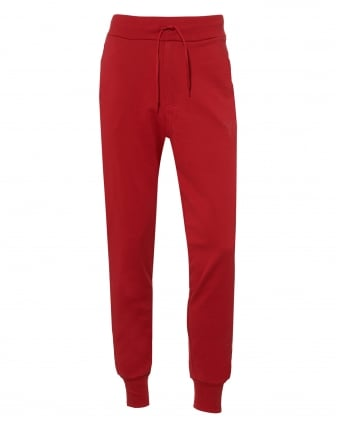 Mens Cuffed Logo Trackpants, Chili Red Cotton Sweatpants