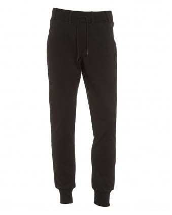 Mens Cuffed Trackpants, Belt Looped Black Sweatpants