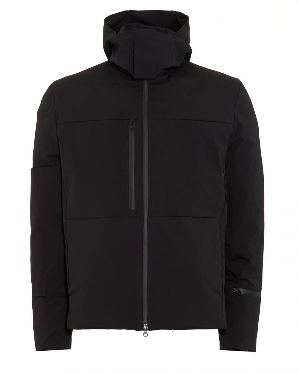y 3 mens down quilted jacket matte black short coat