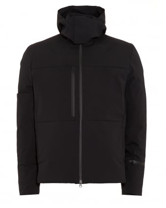 Mens Down Quilted Jacket, Matte Black Short Coat