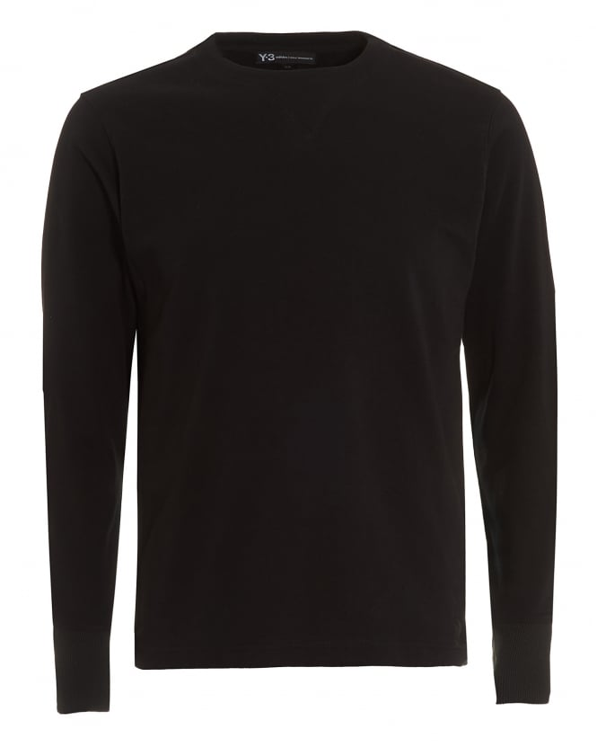 Y-3 Mens Elbow Patches T-Shirt, Long Sleeved Black Tee