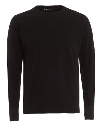 Mens Elbow Patches T-Shirt, Long Sleeved Black Tee