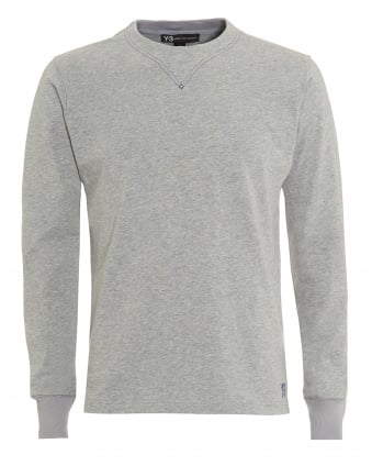Mens Elbow Patches T-Shirt, Long Sleeved Grey Tee
