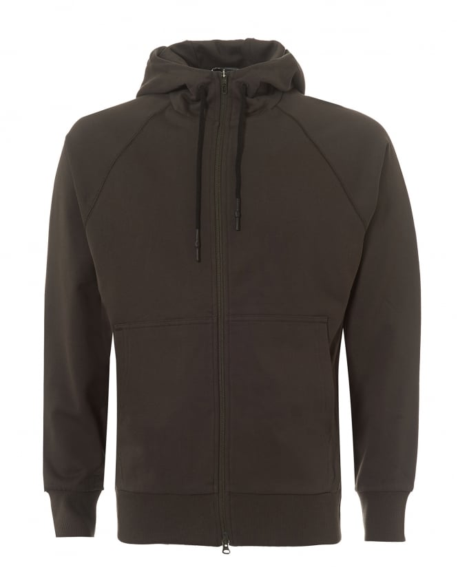 Y-3 Mens Large Logo Hoodie, Zip Up Black Olive Track Top