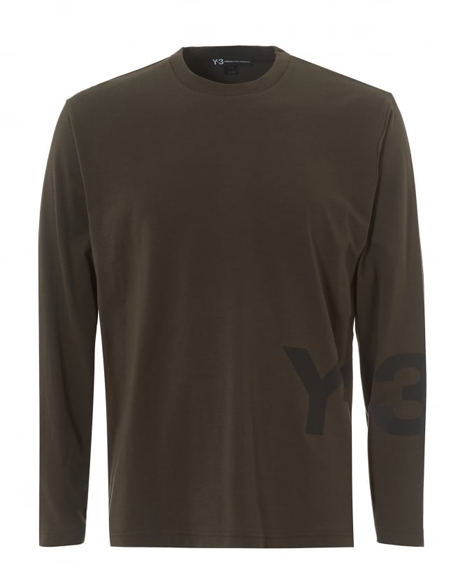 Y-3 Mens Large Split Logo T-Shirt, Long Sleeved Black Olive Tee