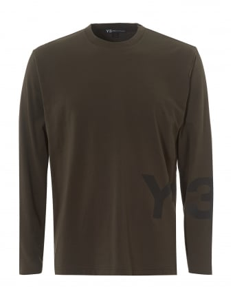 Mens Large Split Logo T-Shirt, Long Sleeved Black Olive Tee