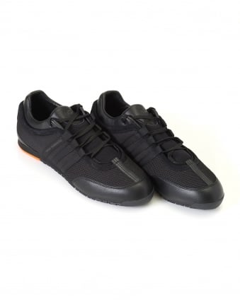 Mens Low Top Trainers, Black Leather Boxing Sneakers