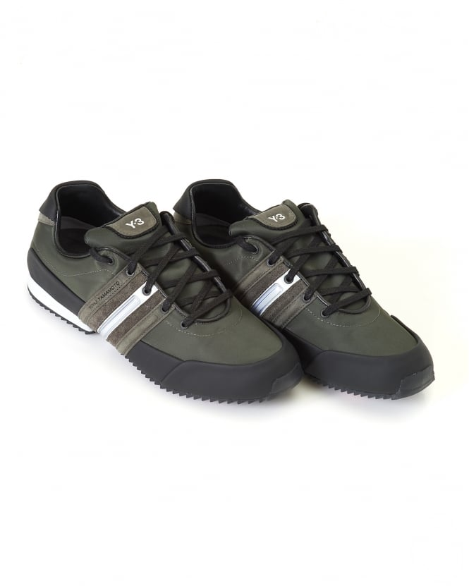 Y-3 Mens Low Top Trainers, Black/Olive Sprint Sneakers