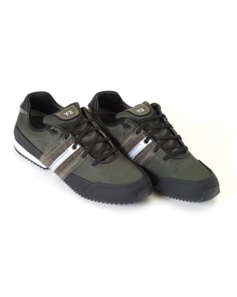 Mens Low Top Trainers, Black/Olive Sprint Sneakers