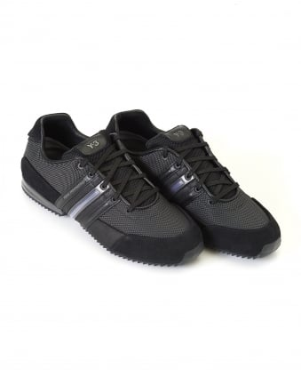 Mens Low Top Trainers, Black Sprint Leather Sneakers