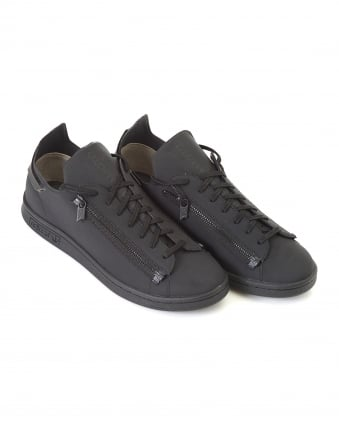 Mens Low Top Trainers, Black Stan Smith Zipped Neoprene Sneakers