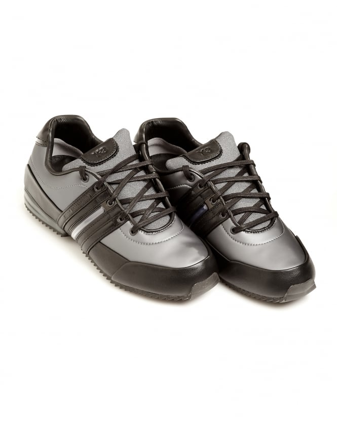 Y-3 Mens Night Metallic Grey Sprint Leather Trainers
