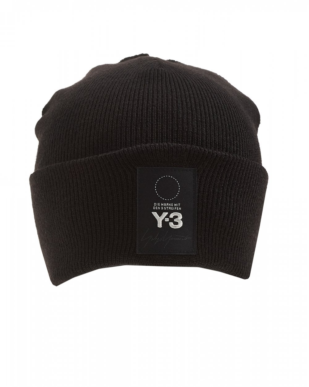 99d4e8f9f Mens Patch Logo Beanie, Black Ribbed Hat