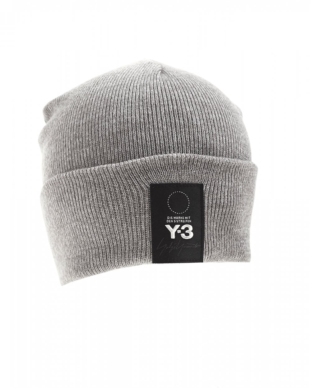 e8dc66dbe Mens Patch Logo Beanie, Grey Ribbed Hat