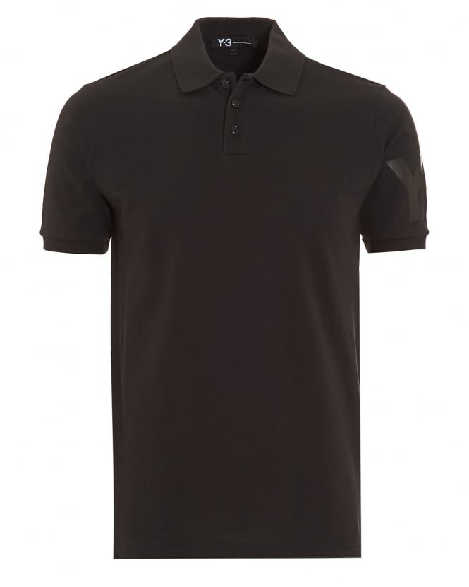 Y-3 Mens Polo Shirt, Black Slim Fit Logo Polo