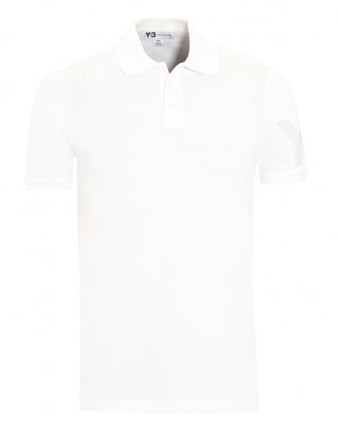 Y-3 Mens Polo Shirt, White Slim Fit Logo Polo