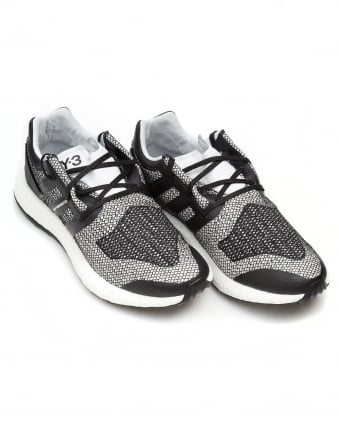Mens Pure Boost Trainers, Black White Mesh Sneakers