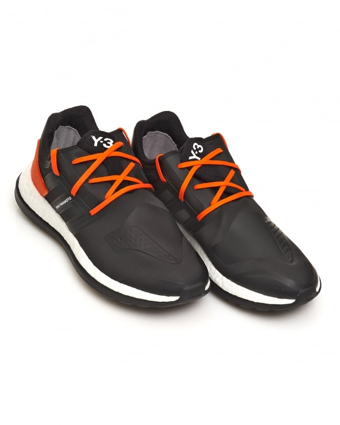 Y-3 Mens Pure Boost ZG Neoprene Black and Orange Trainers