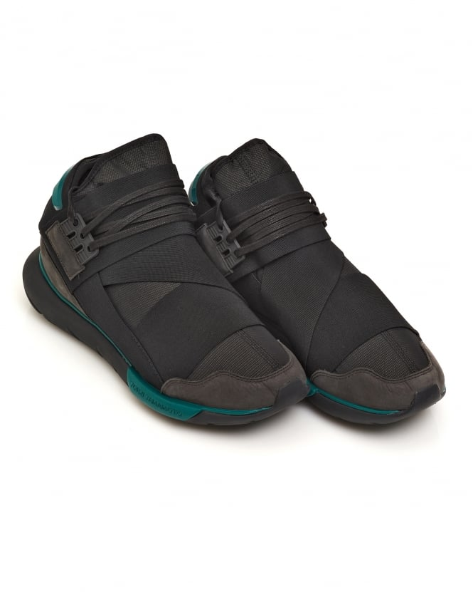 Y-3 Mens Qasa High Teal Detail Charcoal Trainers