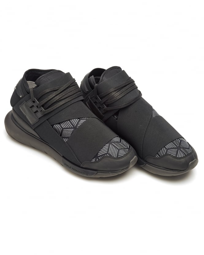 Y-3 Mens Qasa High Trainers, Black Elasticated Strap Sneakers