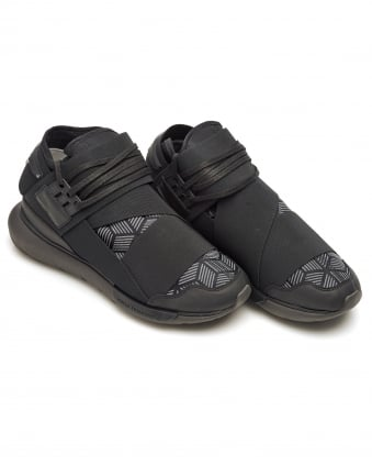 Mens Qasa High Trainers, Black Elasticated Strap Sneakers