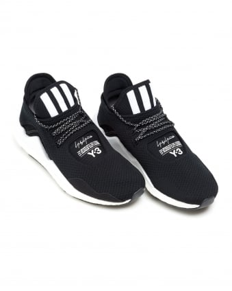 Mens Saikou Trainers, Black Boost 3 Stripe Sneakers