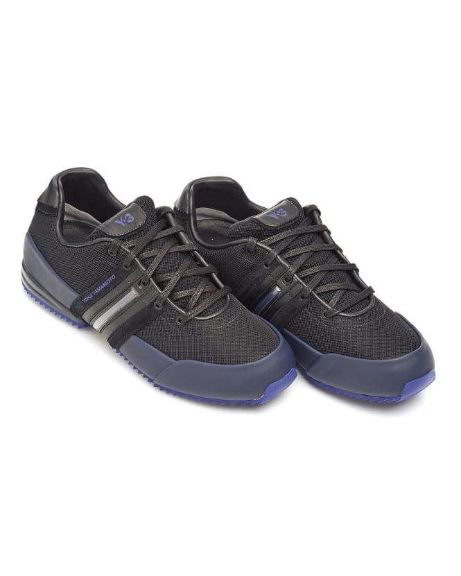 Y-3 Mens Sprint Trainers, Black Leather Purple Sole Lace Up Sneakers