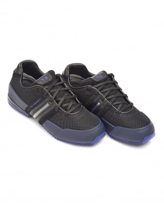 Mens Sprint Trainers, Black Leather Purple Sole Lace Up Sneakers