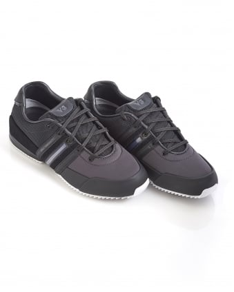 Mens Sprint Trainers, Black Leather Sneakers